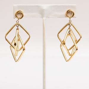 Pair of Mid-Century Modern 14k Gold Earrings