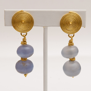Pair of 18k Gold and Chalcedony Earclips