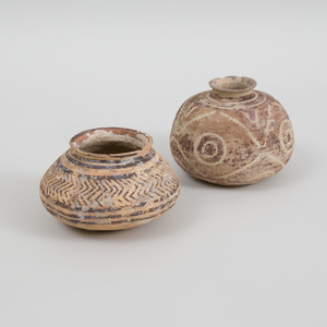 Two Geometrically Decorated Pottery Vessels, Possibly Iranian