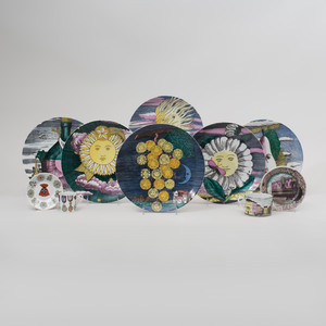 Group of Piero Fornasetti Transfer Printed and Enriched Tablewares