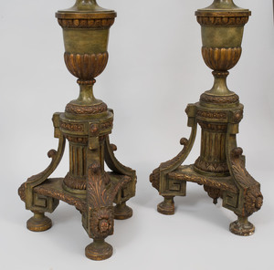 Pair of Large Neoclassical Style Carved Wood Floor Lamps