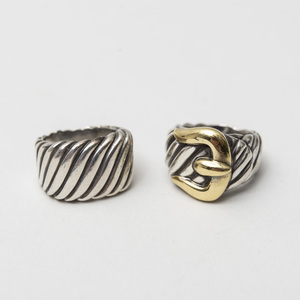 Two David Yurman Sterling Silver Rings