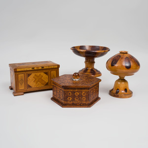 Two Treen Vessels and Two Marquetry Boxes