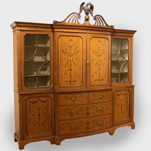 Edwardian Mahogany, Fruitwood and Penwork Satinwood Marquetry Breakfront Bookcase
