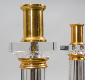 Pair if Neoclassical Style Brass-Mounted Glass Candlesticks