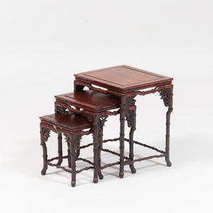 Chinese Carved Hardwood Set of Miniature Nesting Tables