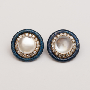 Pair of Moonstone, Diamond and Enamel Earrings