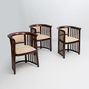 Pair of Stained Wood Armchairs, In the Style of Josef Hoffmann, For Thonet