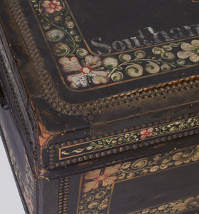 Chinese Painted Leather Mounted Camphorwood Trunk