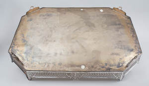 Large Silver Plate Galleried Tray