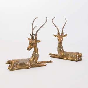 Pair of Brass Figures of Recumbant Stags