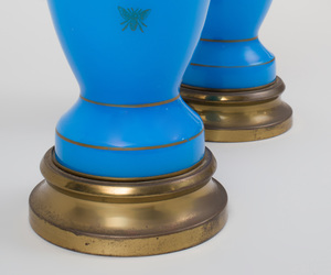 Pair of French Gilt-Decorated Blue Opaline Glass Vases, Mounted as Lamps