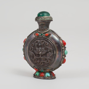 Chinese Silvered-Metal Snuff Bottle and Stopper Inset with Hardstones