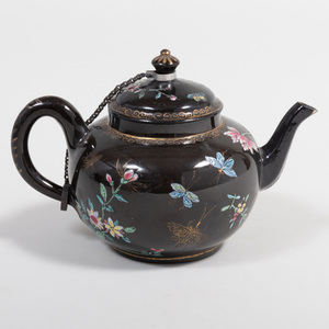 Staffordshire Pottery Black Ground Teapot and Cover