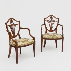 Pair of George III Style Mahogany Shield Back Chairs