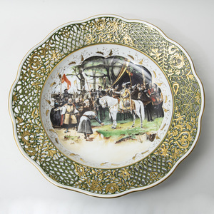 Herend Porcelain Commemorative Large Platter of Hungarian Historical  Interest, A Magyar Honfoglalas  1100 Evforduloijara