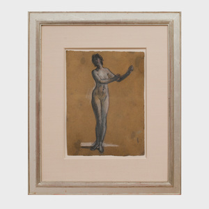 Attributed to Arthur B. Davies (1862 - 1928): Study for a Woman Playing a Lyre
