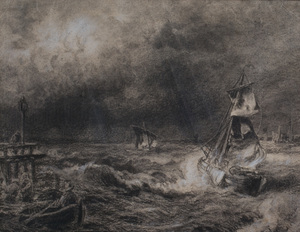 Attributed to Hermann Herzog (1832 - 1932): A Dutch Packet Boat in a Storm; and Before the Storm
