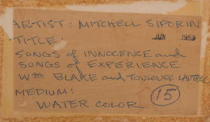 Mitchell Siporin (1910 - 1976): Songs of Innocence and Songs of Experience, William Blake and Toulouse-Lautrec