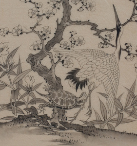Japanese School: Cranes with a Tortoise and Blossoms ; and Wild Geese and Blossoms