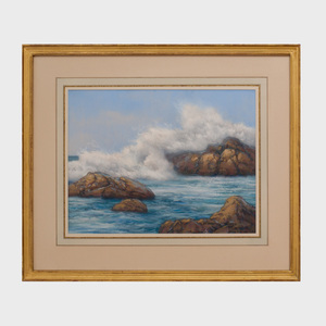 Robert Knudson (b. 1929): Seascape; and Rocky Shore