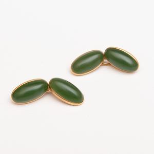 Pair of Jade and 14k Gold Cufflinks