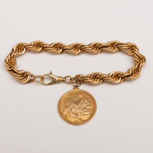 14k Gold Rope Bracelet with a 14K Gold Lion Charm