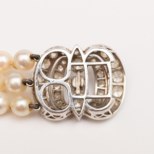 Triple Strand Cultured Pearl, Platinum and Diamond Bracelet