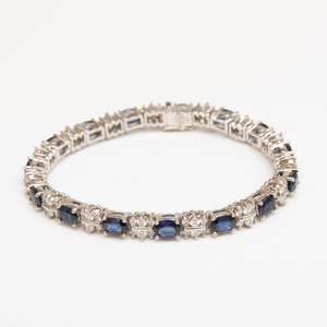 Platinum, Sapphire and Diamond Bracelet