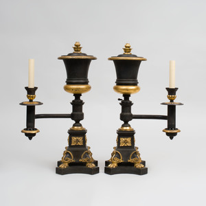 Pair of Regency Style Bronze and Parcel-Gilt Argand Lamps, J. & I. Cox