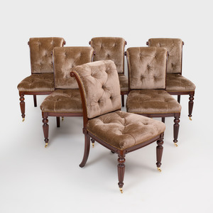 Set of Six William IV Style Stained Wood Dining Chairs