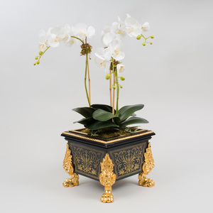 Louis XIV Style Gilt-Metal Mounted Brass Inlaid Ebonized Jardinière, Modern