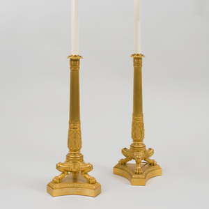 Pair of Denière & Fils Ormolu Candlestick Lamps