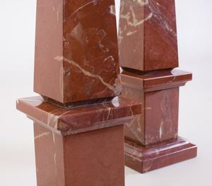 Pair of Red Marble Obelisks