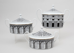 Piero Fornasetti Transfer Printed Porcelain Part Service in the 'Palladiana' Pattern, for Rosenthal