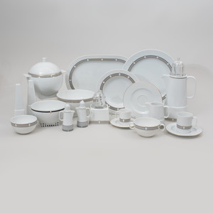 Aldo Rossi Transfer Printed Assembled Porcelain Part Service in 'Il Faro Dorico' Patterns, for Rosenthal