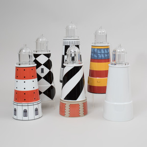 Group of Five Aldo Rossi Transfer Printed Porcelain and Glass 'Il Faro Torre' Light House Form Vessels and Covers, for Rosenthal