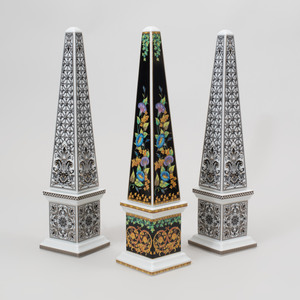 Pair of Versace Transfer Printed Porcelain Candlesticks in the 'Marqueterie' Pattern and a Single in the 'Gold Ivy' Pattern, for Rosenthal