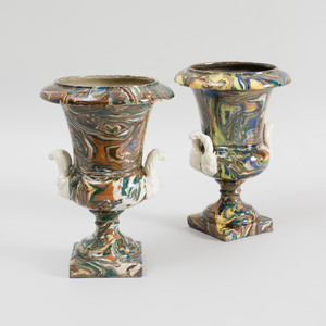 Pair of Agateware Glazed Pottery Campani Form Urns
