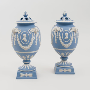 Pair of Charles and Diana Royal Wedding Wedgwood Jasperware Potpourri Vases and Covers