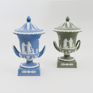 Two Wedgwood Jasperware Urns and Covers