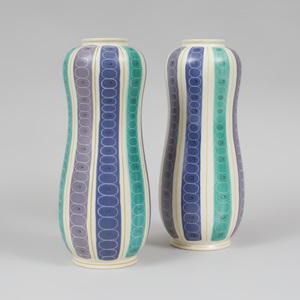 Pair of Large Poole Porcelain Vases