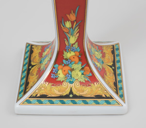 Set of Four Versace Transfer Printed Porcelain Candlesticks in 'Le Roi Soleil' Pattern and another in the 'Medusa' Pattern, for Rosenthal