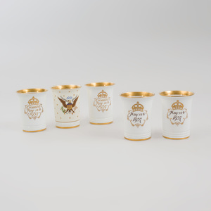 Three Mintons George VI and Queen Elizabeth Coronation Beakers, and a Pair of  Mintons Edward VII Coronation Beakers