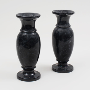 Pair of Marble Baluster Urns