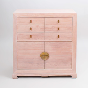Chinese Style Ceruse Oak Chest of Drawers, for Albert Furniture