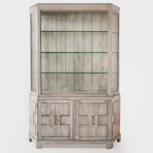 Modern Cerused Oak Vitrine Cabinet, in the Style of James Mont