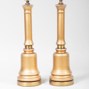 Pair of Modern Brass-Mounted Porcelain Columnar Lamps