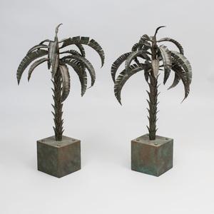 Pair of Verdigris Metal Palm Trees