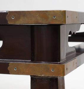 Japanese Brass-Mounted Brown Lacquer Low Table